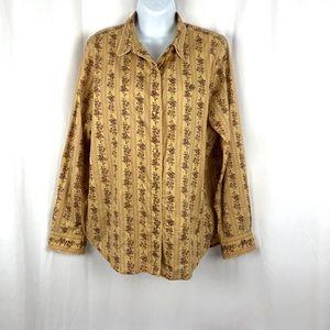 Ralph Lauren Cotton lace trimmed button blouse L